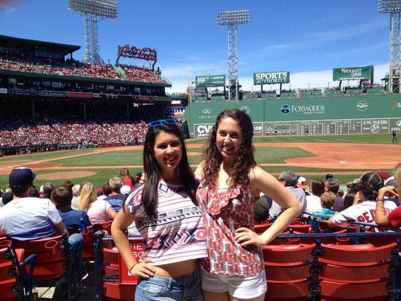 Author with friend at Red Sox game