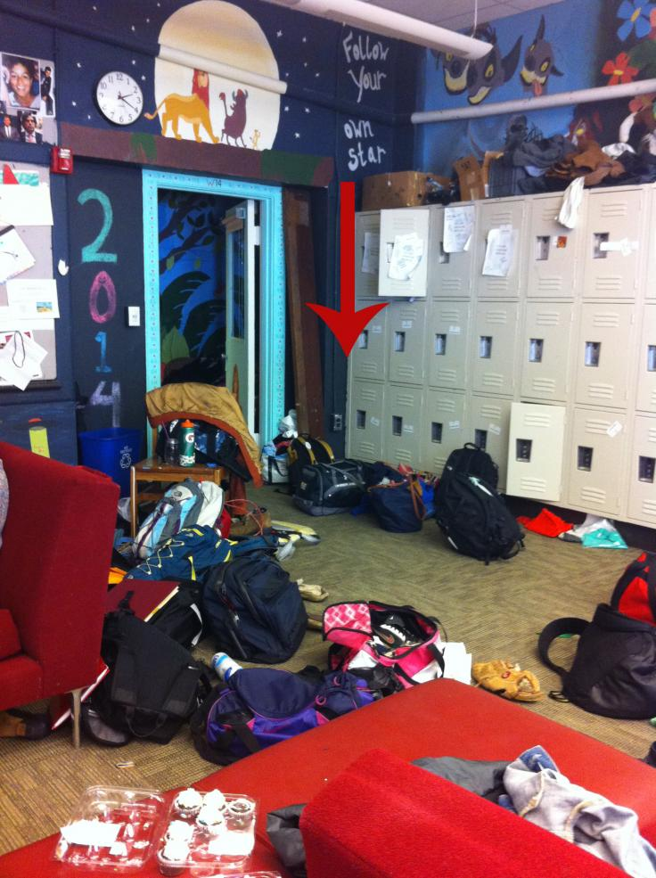Picture of messy lockers and hallway