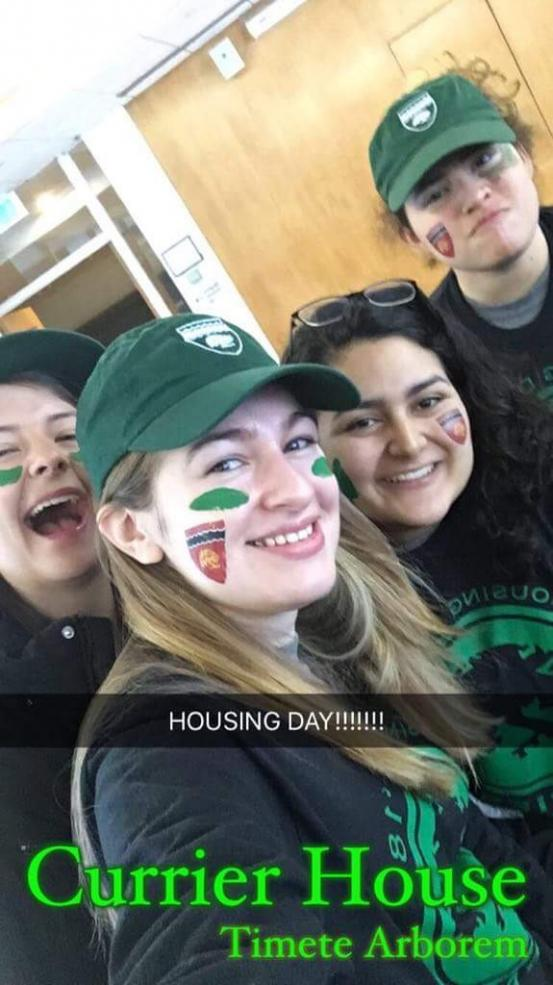 students posing before Housing Day festivities.