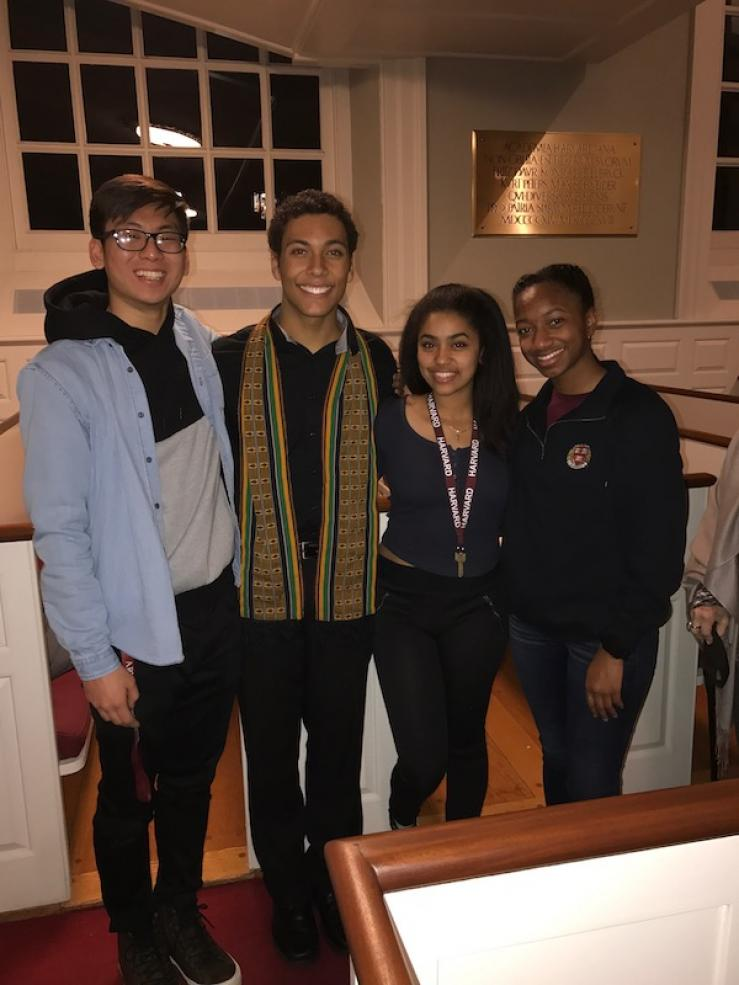 four students in Kuumba singers group at Harvard