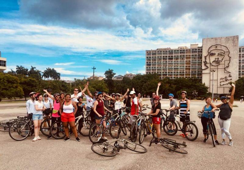 student classmates after a bike tour of Havana