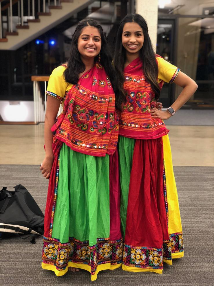 Author with friend while wearing raas costumes