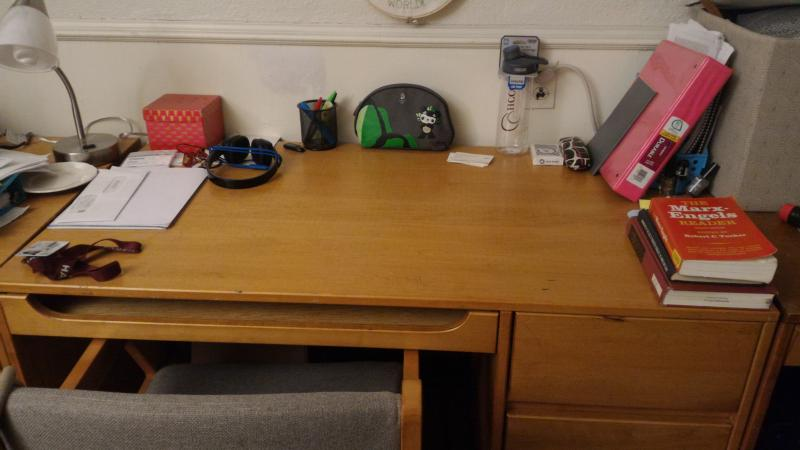 Photograph of author's desk in dorm room
