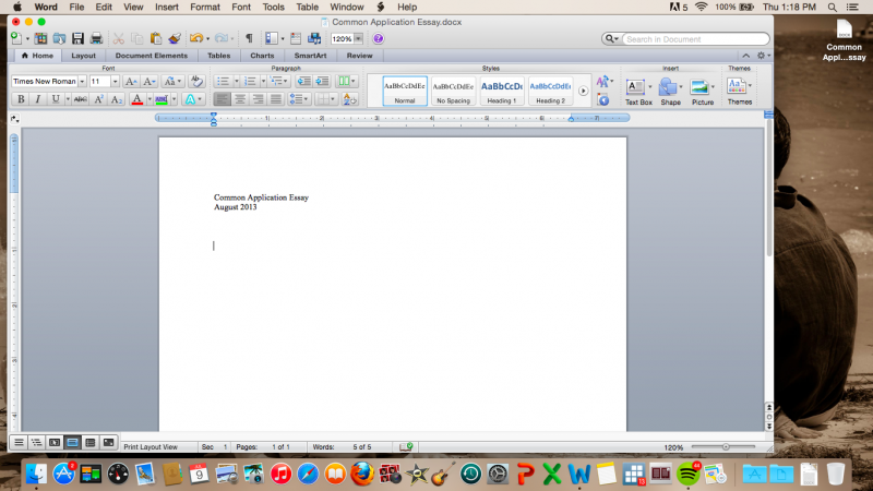 """Screenshot of blank Microsoft Word document with the title """"Common Application Essay, August 2013"""""""