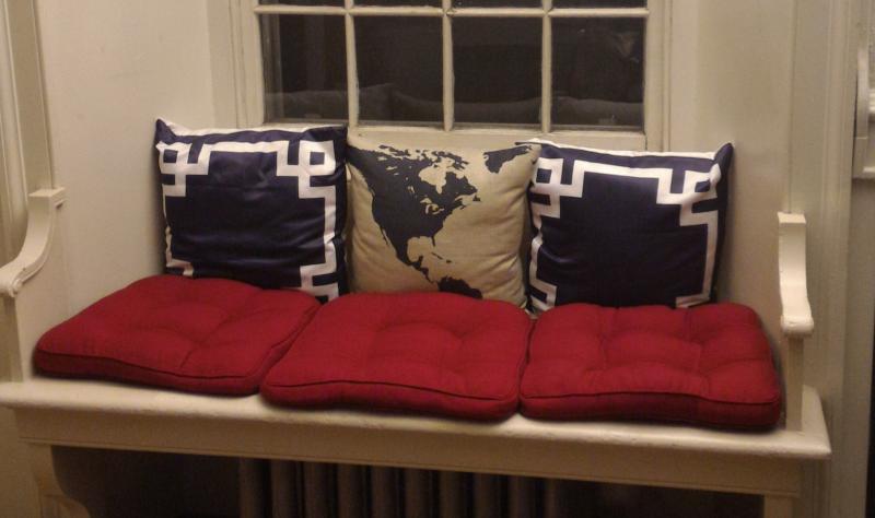 Photograph of author's window seat in her dorm room
