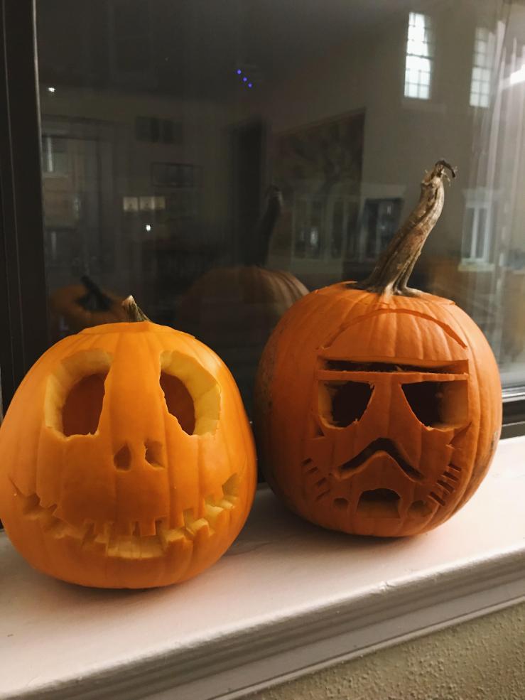 Two jack-o'-lanterns.