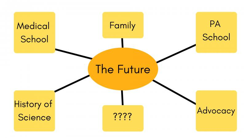 Mind Map: Future in the middle with connecting bubbles that read History of Science, Medical School, Family, Advocacy, PA School, and ???