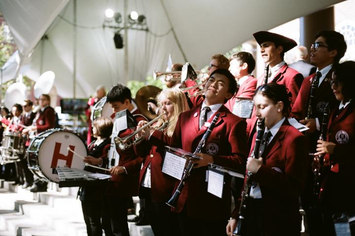 Harvard student band during Larry Bacow's Inaguration