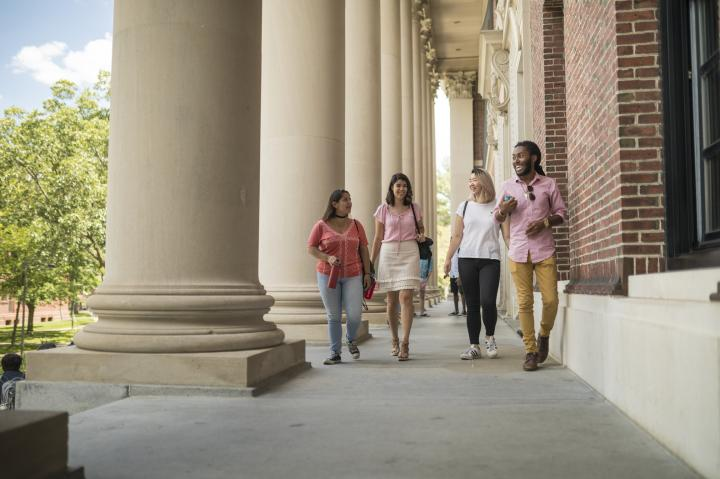 Four students walking outside of Widener Library