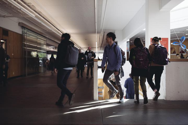 Students walking through the Science Center