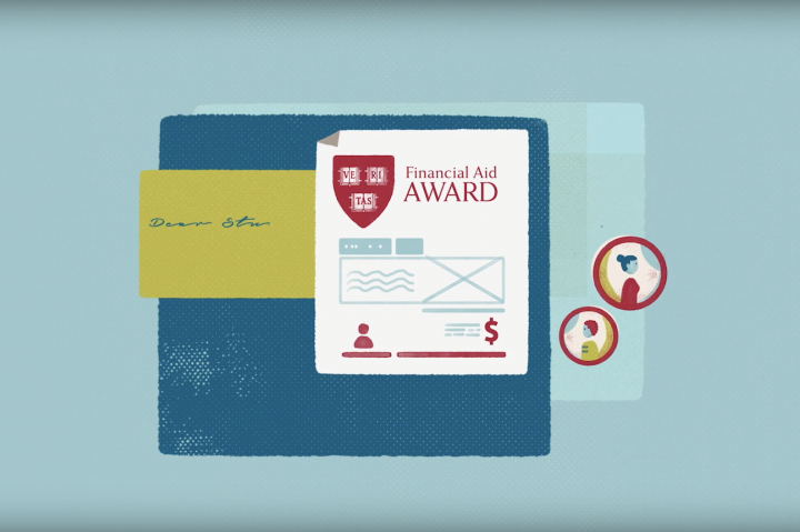 Illustrated image of a financial aid award letter