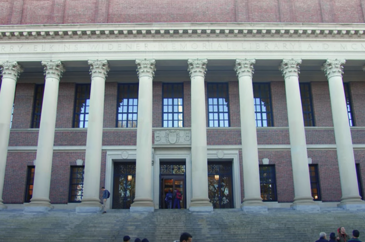 "Screenshot of image of Widener Library taken from the ""Take a student-led tour of Harvard University"" video"