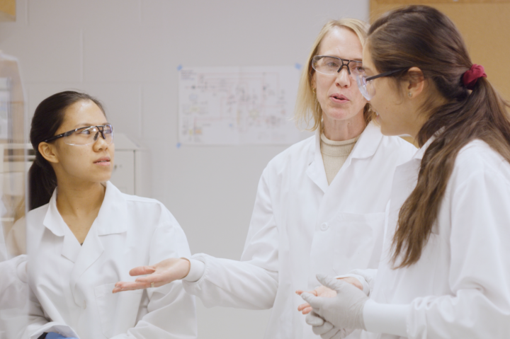 A professor teaching two students in the lab