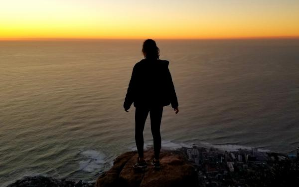 Overlooking Cape Town, South Africa from the peak of Lion's Head