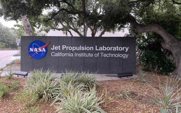 The sign outside to entrance to NASA's Jet Propulsion Laboratory