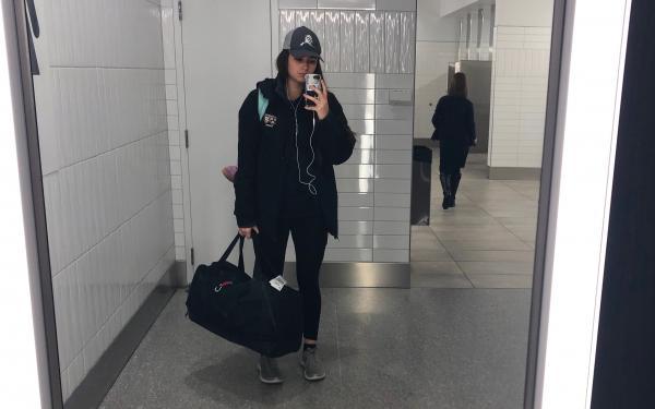 Author selfie in airport