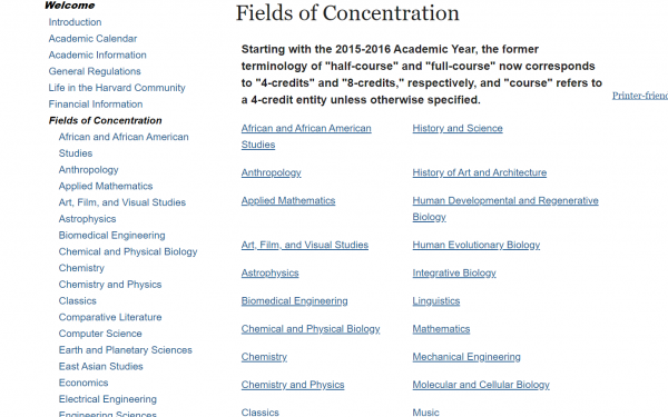 A screenshot from the Fields of Concentration website displaying a list of possible concentrations