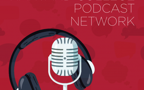Logo of the harvard college podcast network. The logo includes a microphone and a headset that is hanging off of the microphone.