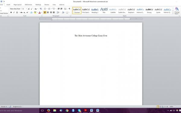 """Photograph of blank Microsoft Word document titled """"The Most Awesome College Essay Ever"""""""
